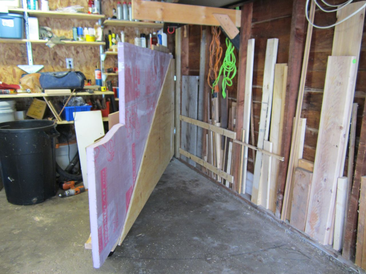 Sheet Goods Rack Opened Showing Short Board Storage.